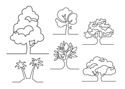 Set of trees - continuous line drawing. Vector illustration.