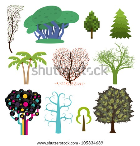 Set of trees in different styles. Vector illustration.