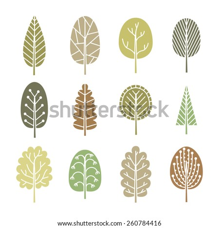 Set of trees in spring soft colors. Collection of nature elements. Ecology icons. Vector illustration.