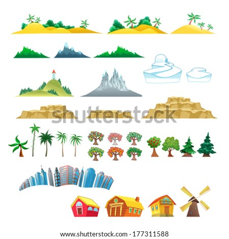 set of trees  mountains  hills