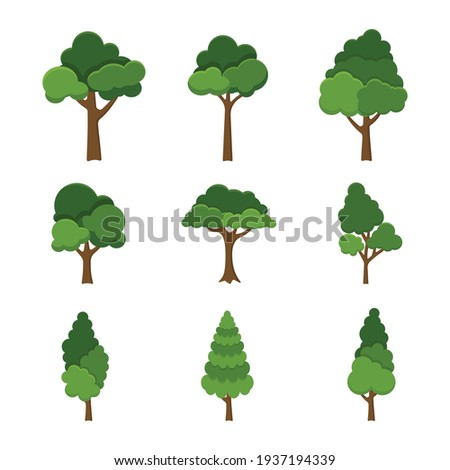 set of trees object isolated on