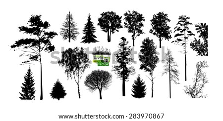 set of trees silhouette vector