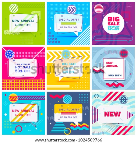 set of trendy abstract