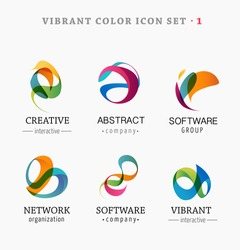 Set of trendy abstract, vibrant and colorful icons