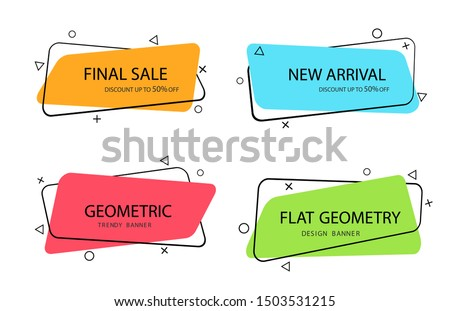Set of trendy banner with flat shape. Design label element with geometric shape for discount sale.Vivid background template with title text for banner, label. vector eps10
