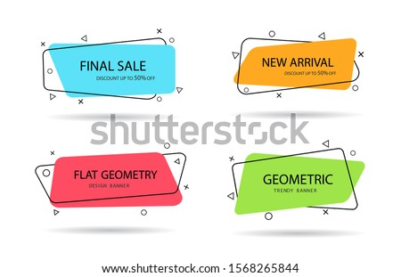 Set of trendy banner with flat shape. Design label with geometric shape for discount sale. Vivid background template with title text for label, app. Memphis banner with title text, line. vector eps10