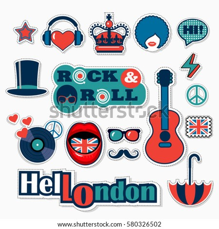 set of trendy british patches