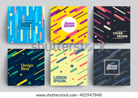 Set of Trendy Cards with Flat Dynamic Design. Applicable for Covers, Placards, Posters, Flyers and Banner Designs.