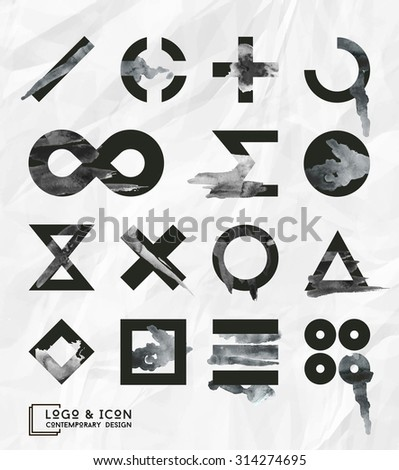 Set of trendy contemporary icon and logo.  Vector illustration. EPS 10 #314274695