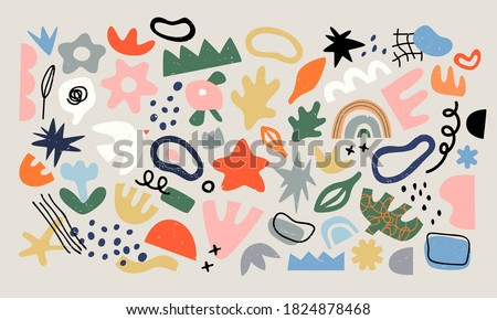 Set of trendy doodle and abstract random icons on isolated background. Big element collection, unusual organic shapes in freehand matisse art style. Includes bird, leaf, flower and texture bundle.
