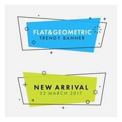 Set of trendy flat geometric vector banners. Vivid transparent banners in retro poster design style. Vintage colors and shapes. Green and blue banner design.