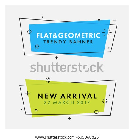 Set of trendy flat geometric vector banners. Vivid transparent banners in retro poster design style. Vintage colors and shapes. Green and blue banner design. - Shutterstock ID 605060825
