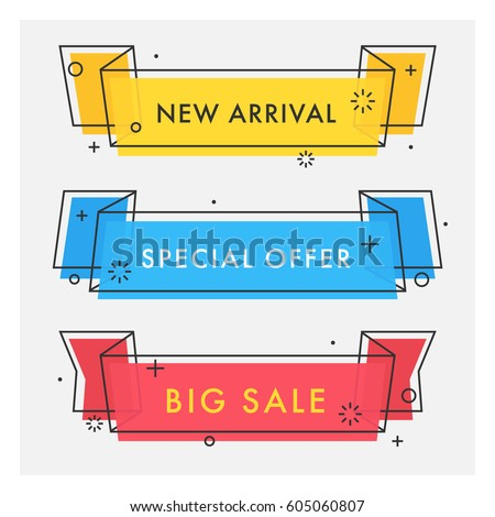 Set of trendy flat geometric vector ribbons. Vivid transparent banners in retro poster design style. Vintage colors and shapes. Red, yellow and blue banner design.