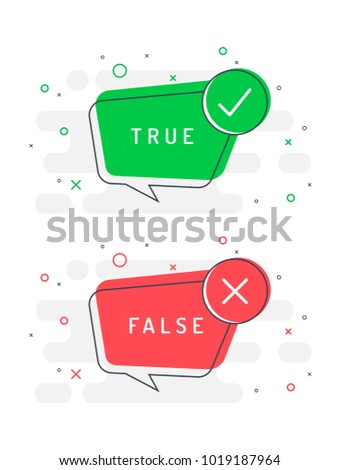 Set of trendy flat vector bubble. Check mark and cross icons set. True or false? Red and green colors.