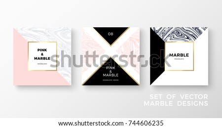 set of trendy geometric card or