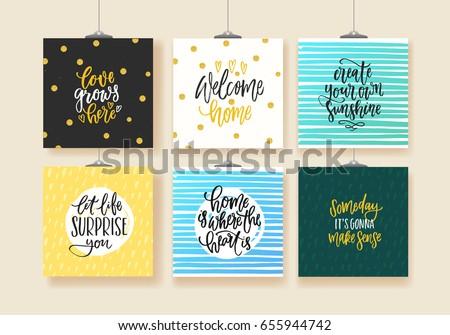 set of trendy hand lettering