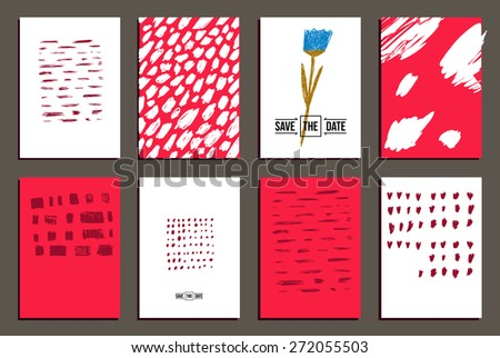 set of 8  trendy invite cards