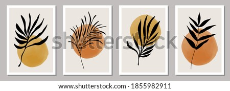 Set of trendy minimalist botanical posters with branch and leaves, ideal for art gallery, modern wall art poster, minimal interior design, vector illustration