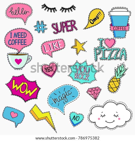 Set of trendy patches in retro style with quotes and elements #786975382