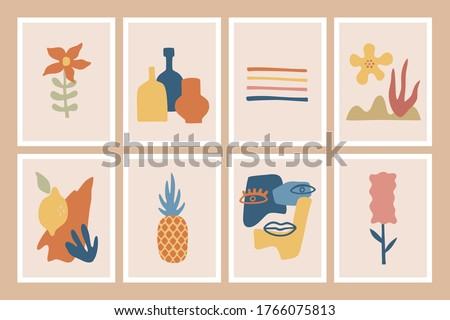 Set of trendy posters, abstract shapes, fruits and palm leaves, hand drawn collection of modern placard in flat style. Contemporary art in pastel colors. Vector isolated illustrations.