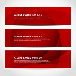 Set of trendy red vector banners template or website headers with abstract geometric background. Vector design illustration EPS10