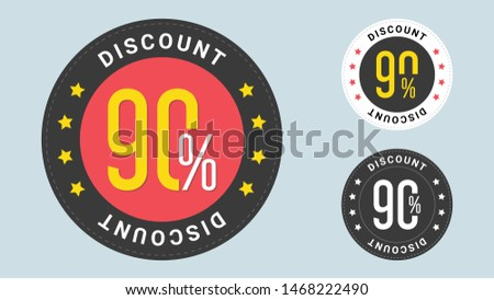 Set of trendy sale stickers. 90% off. Sale and discount tags with 90 percent price off icons. Badges template 90 off, percent sale label symbols, discount promotion icon.