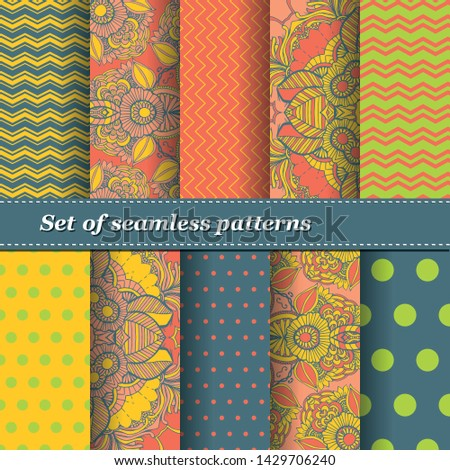 Set of Trendy Seamless Floral Pattern. Summer exotic ornament with tropical leaves.Vector illustration. EPS10