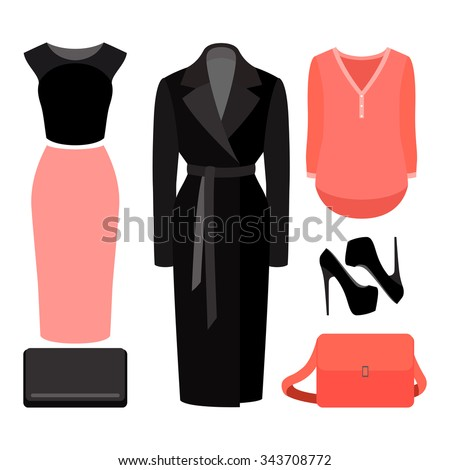 set of  trendy women's clothes