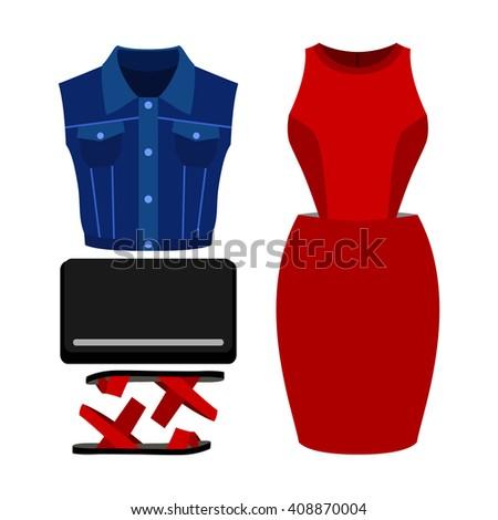 set of trendy women's clothes