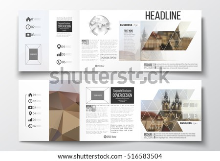 Set of tri-fold brochures, square design templates. Polygonal background, blurred image, urban landscape, Prague cityscape, modern triangular texture