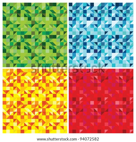 set of triangle abstract seamless patterns - vector illustration