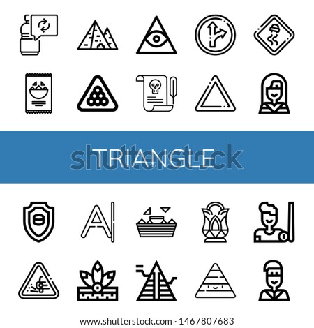 Set of triangle icons such as Reuse, Nachos, Pyramid, Billiard, Freemasonry, Letter, Traffic sign, Warning, Slippery road, Native american, Emblem, Loose gravel, Crystal , triangle