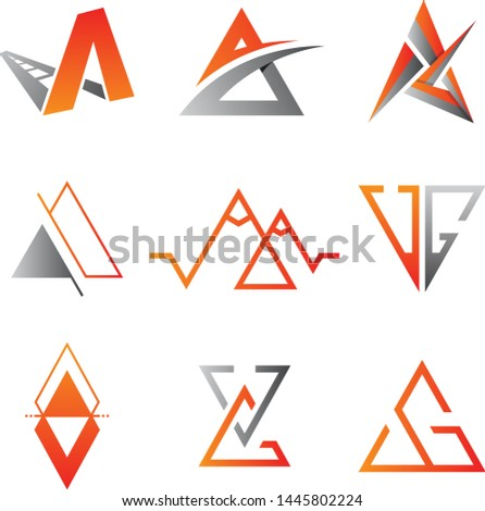 Set of triangle vector icon symbol for element design on the white background. Collection of triangle symbol design template in flat style. Vector illustration EPS.8 EPS.10