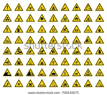 Set of triangle warning sign on yellow background. Symbol, vector, illustration