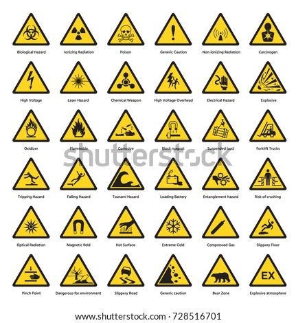 Set of triangle yellow warning sign hazard danger attention symbols chemical flammable security radiation caution icon vector illustration.