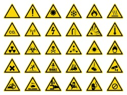 Set of triangle yellow warning sign. Vector, illustration
