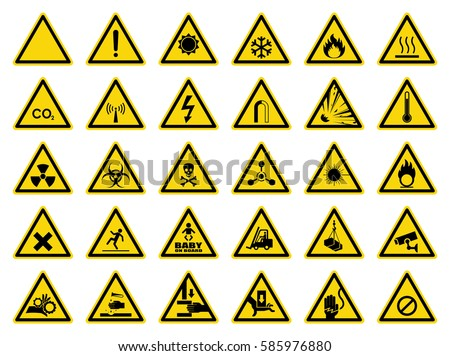set of triangle yellow warning