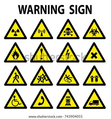 set of triangle yellow warning