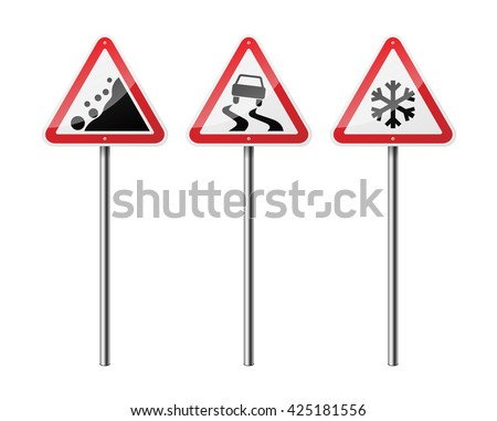 Set of 3 triangular road signs, isolated on white background. EPS10 vector illustration.