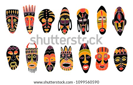 Set of tribal african masks. Isolated on white. Hand drawn vector illustration.