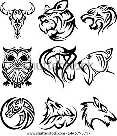 Set of tribal animal head vector icon symbol for element design on the white background. Collection of animal head symbol design template in flat style. Vector illustration EPS.8 EPS.10