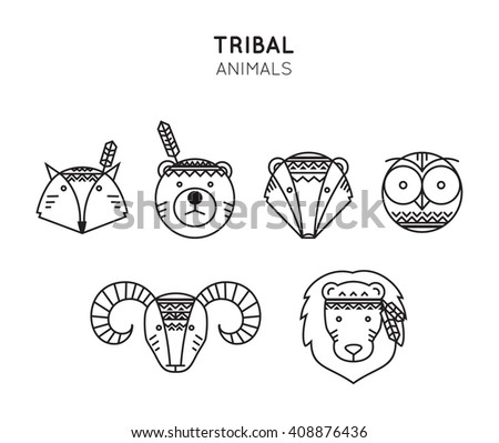 set of tribal animals icon in