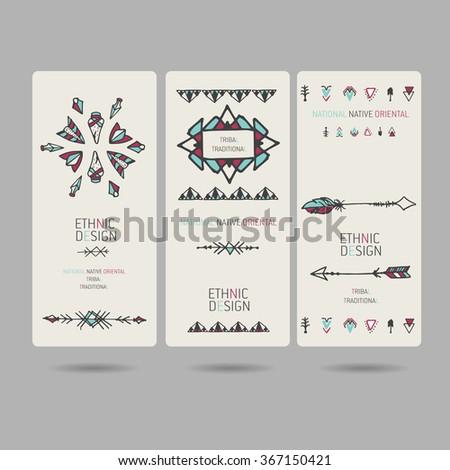 Set of tribal vintage  boho  ethnic banners or invitation cards