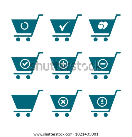 set of trolley icon, shopping cart icon in trendy flat style