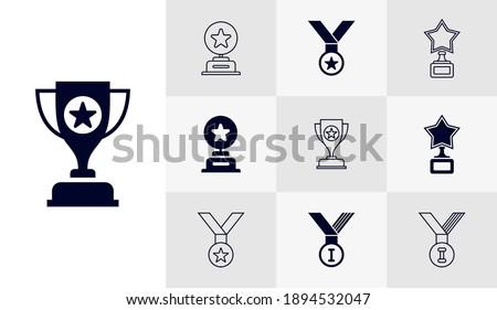 Set of Trophy icon logo vector template, Education icon concepts, Creative design
