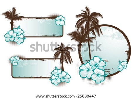Set of tropical banners in blue - vector