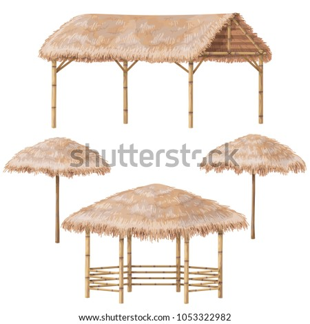 Set of tropical beach shelter buildings with palm thatch roof. Bamboo gazebo, canopy and parasol  isolated on white. Vector flat design element. Photo stock ©