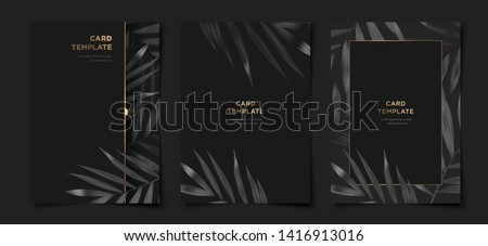 Set of tropical elegant black and gold cover template layout set with foliage background, luxury spa, hotel, card, invitation, salon and more