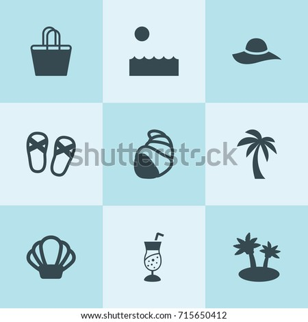set of 9 tropical filled icons