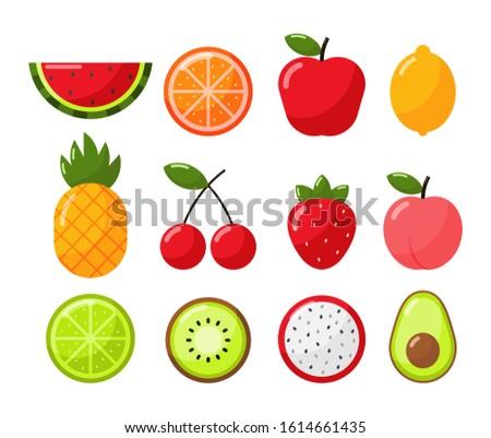set of tropical fruit cartoon
